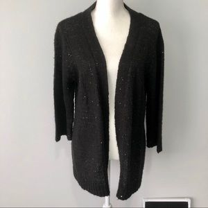 NY Collection black sequin open cardigan 1X